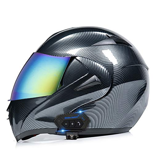 Bluetooth Modular Motorcycle Helmet,DOT/ECE Approved Carbon Fiber Lightweight Anti-Fog Dual Visor Motorcycle Helmet Mofa Bobber Chopper Cruiser Racing Hat
