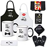 Shinnywis Mr And Mrs Aprons & Coffee Mugs Set for Happy Couple Gifts - Memorable Bridal Shower Gifts for Bride, Engagement Wedding Gifts for Couple 2021 Mr and Mrs Gifts, Newlywed Gift Bride and Groom