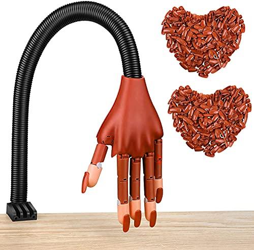 Manicura práctica de manicura, modelo de mano de práctica + 200 uñas postizas intercambiables, para principiantes de la manicura, amantes de las uñas