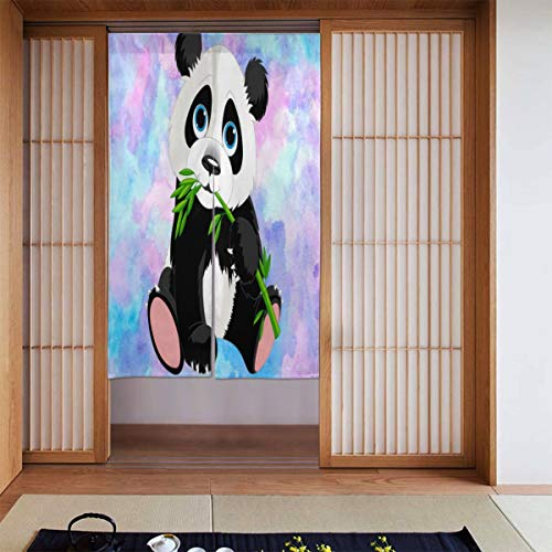 Cyloten Hanging Panda Doorway Curtain Door Hanging Tapestry Lightweight Partition Door Curtains Privacy Home Decor Window Drapery for Bistro Fitting Room Kitchen Closet