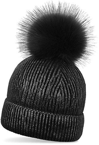 styleBREAKER warme Metallic Strick Bommelmütze mit abnehmbarem Kunstfell Bommel, Winter Fellbommel Mütze, Damen 04024138, Farbe:Schwarz