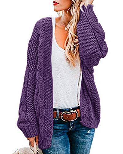 Ferrtye Womens Oversized Chunky Open Front Cardigan Sweaters Cable Knit Long Sleeve Boyfriend Cardigans Outwear Coats Purple