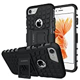 ALDHOFA iPhone 7 Case, Heavy Duty Design Shockproof Protective Back Cover Phone Case with Kickstand for iPhone 7 - Black