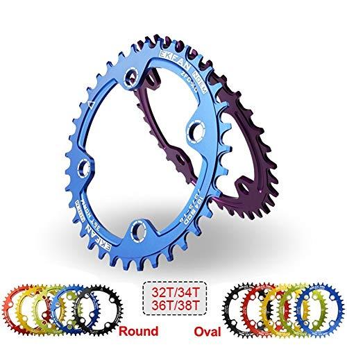 Denkqi 104BCD Bicicletas Chainring 32T / 34T / 36T / 38T Placa Oval Redondo Ciclo Chainwheel 7075-T6 y bielas MTB Círculo (Color : 36T Round Gold)