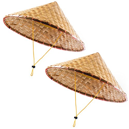 Lustige Partyhüte Orientalische Hut - asiatische Hut - Chinesische Hut - Japanische Hut - Kegelhut - Reis Bauer Hüte -  Braun -  Einheitsgröße