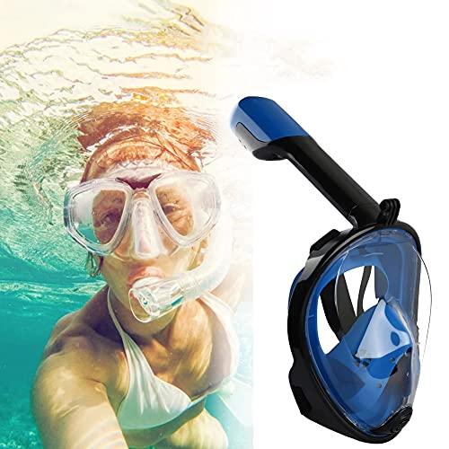 Máscara De Snorkel De Cara Completa, 180 ° Vista Panorámica Sistema De Respiración Segura Máscara De Buceo Máscara De Natación Cara Completa Anti-Niebla Scuba Sbuba Snorkel Herramienta De Buceo