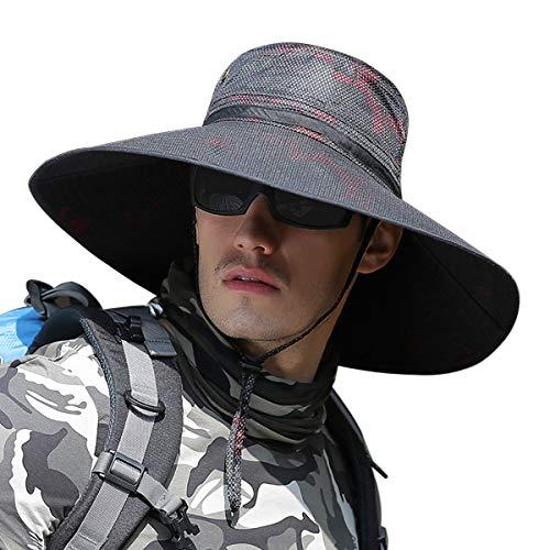 Sombreros de sol de pesca de ala ancha estupenda, gorro de cubo para mujer de viaje al aire libre, sombrero de boonie de safari - - talla única