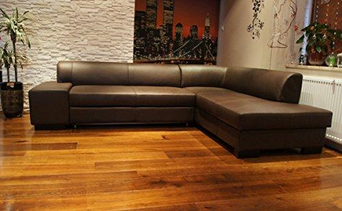 Quattro Meble Echtleder Ecksofa London II 275 x 200 Sofa Couch mit Schlaffunktion und Bettkasten Braun Echt Leder Hermes Choco Eck Couch große Farbauswahl