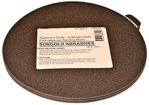 Sungold Abrasives 33813 X-Weight Cloth Premium Industrial Aluminum Oxide Assorted Grits PSA Stick-On Discs For Stationary Sanders (12 Discs/Pack), 8