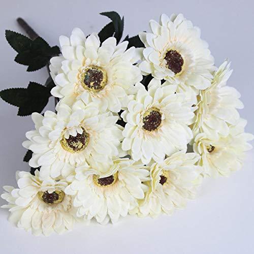 Ymwenj Flor Artificial Simulación Crisantemo Simulación Crisantemo Manojo Manojo Gerbera Cabeza Plana Flor del Manojo Crisantemo Fran @ Blanco