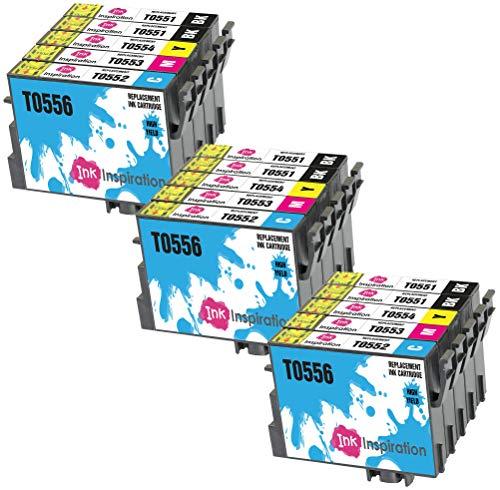 INK INSPIRATION® Ersatz für Epson T0551-T0554 (T0555) Druckerpatronen 15er-Pack, kompatibel mit Epson Stylus Photo R240 R245 RX400 RX420 RX425 RX450 RX520, Schwarz/Cyan/Magenta/Gelb