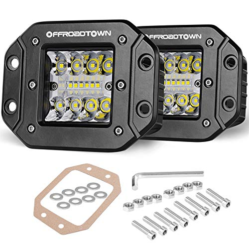 OFFROADTOWN Flush Mount LED Pods, 2pcs 5'' 78W Driving Lights LED Work Light Flush LED Light Bar Super Bright Fog Lights Off Road Lights for Truck SUV Boat 4x4 Grill Mount