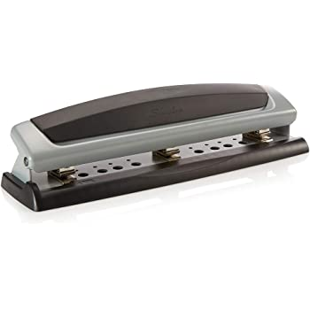 Swingline Desktop Hole Punch, Hole Puncher, Precision Pro, Adjustable, 2-3 Holes, 10 Sheet Punch Capacity, Black/Silver (74037)