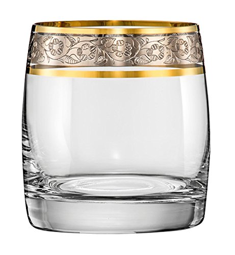 Bohemia Wassergläser, Whiskyglas Kristall Original, 6 er Set, Model Ideal Exclusive, Gold - Platin, Gravur (Wasserglas 6 x 290 ml)