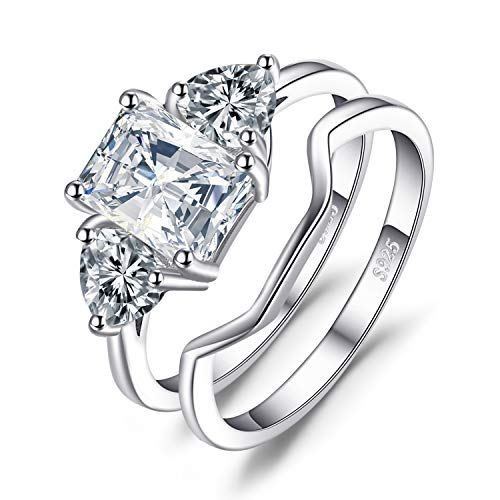 JewelryPalace Wedding Rings Bands Solitaire Engagement Rings For Women Anniversary Promise Ring Bridal Sets 1.3ct Emerald Cut 3 Stones Cubic Zirconia 925 Sterling Silver Ring Sets Size 6