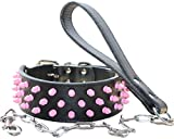 Haoyueer, collare per cani con borchie rosa, 5 cm di larghezza, in pelle, per cani di taglia media e grande, per cani Pitbull Husky Mastiff Terrier (S, nero)