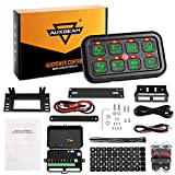 Auxbeam 8 Gang LED Switch Panel Automatic Dimmable Slim Touch Control Panel Box with Harness and Label Stickers for Car Marine Boat Caravan - Green Backlight