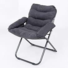 JYKOO Casual Folding Recliner, Butterfly Chair, Bed Chair, Sofa Back Cushion, Dormitory Bedroom Computer Chair, Suede Material,Gray