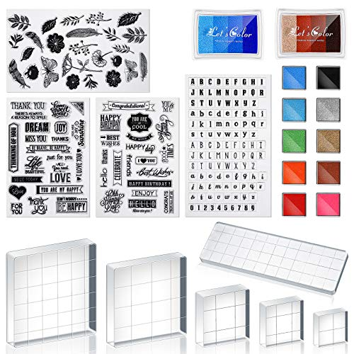 22 Pieces Acrylic Stamp Blocks Tools Set Include 6 Stamp Blocks Acrylic Stamping Clear Block, 4 Transparent Silicone Clear Stamps Seal, 12 Craft Ink Pad Stamp Pad for Scrapbooking Craft Card Making