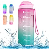 BOTINDO Large 75oz Motivational Water Bottle with Time Marker & Straw,Leakproof BPA Free Hydration Water Jug Ensure You Drink Water Daily for Fitness Gym Camping Outdoor Sports
