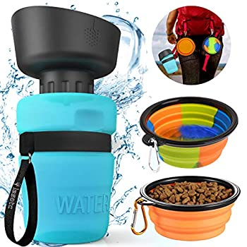 Pet Water Bottle for Dogs,Dog Travel Water Bottle,Upgraded 2 in 1 Drinking Cup Dispenser for Pets,with 2 Collapsible Bowls,Leakproof Foldable Food Bowl for Outdoor Travel Walking Hiking BPA Free