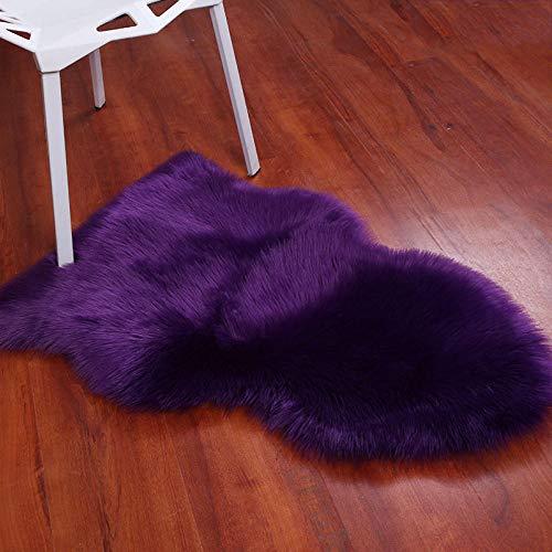 Excelente Piel sintética de Calidad Alfombra de Lana,Sintética de calidad Alfombra de Lana,Alfombra de lana de imitación sala de estar alfombrillas de felpa mullidas para dormitorio-violet_60*110cm