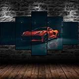 ADKMC 5 Piece Canvas Wall Art for Living Room Decorations Prints Chevy Corvette Stingray C8 2020 Orange Car Poster Abstract Modern Home Decor The Room Stretched and Framed Ready to Hang (200x100cm)