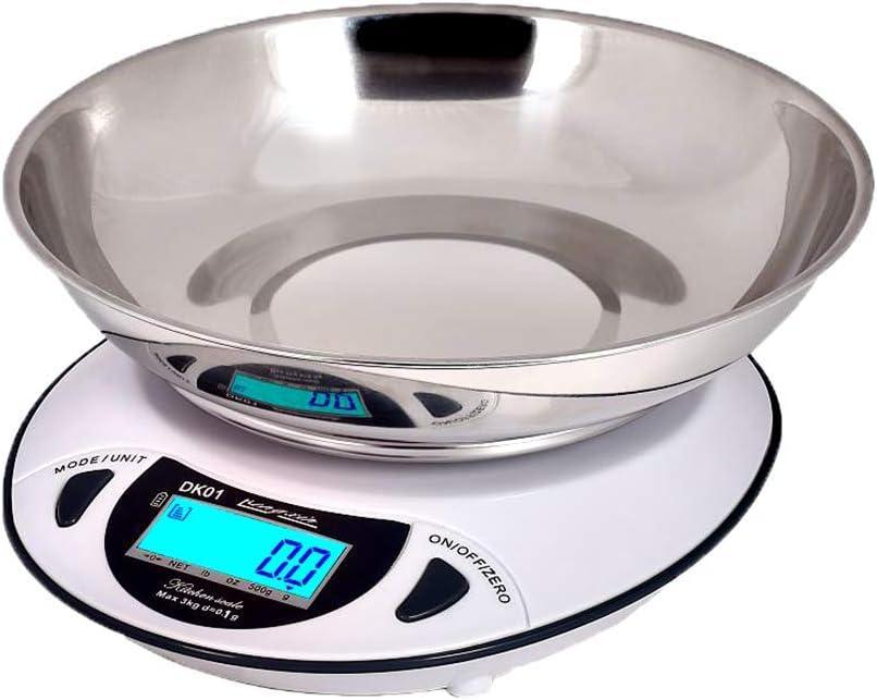 MissZZ Báscula de Cocina Báscula electrónica, 6 kg / 0,1 g Báscula para Hornear en el hogar, Báscula de Laboratorio de Alta precisión Báscula de pesaje Industrial Balanza de Gramos, Blanco, 3 kg