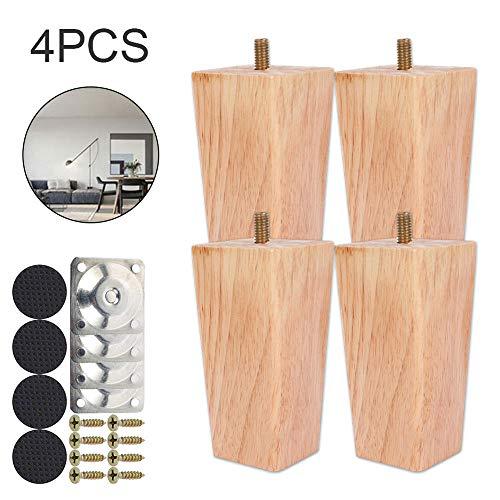 4 Stück Ersatz Möbelfüße Möbelbeine, Holz Sofafüße 6cm/10cm/15cm Möbelfüße, Holzfarbe Aus Eiche für Stühle und Sofa, mit Schrauben und Filzgleiter (100mm)