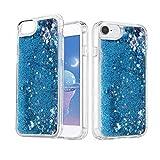 BERMIEU Funda para iPhone SE 2020, iPhone 7/8 Carcasa de Silicona TPU, Funda de Cristal Brillante para Arenas Movedizas, Funda Líquida Niñas Mujer para iPhone Se 2020/6/6S/7/8 (4,7') (Azul)