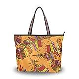 Mnsruu - Bolso de mano con cremallera para mujer, tamaño grande, bolso de la compra casual, L (dibujo animado de plumas étnicas retro), color, talla Large
