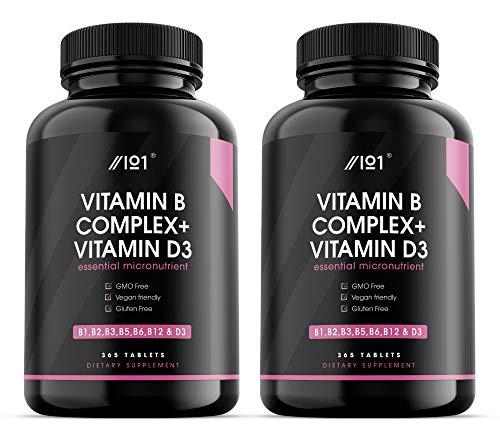 Vitamin B Complex & Vitamin D3 Tablets - B1,B2,B3,B5,B6,B12 & D3-365 Tablets - No Additives — Non-GMO, Gluten Free. (2 Pack)