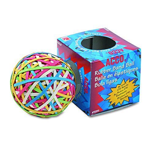 ACCO 72155 Rubber Band Ball, Approximately 275 Rubber Bands, Assorted