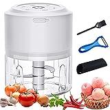 Inroserm Zerkleinerer Küche Elektrisch, 250ml Zwiebelschneider mit 3 Scharfen Klingen, Mini Gemüseschneider USB Wiederaufladbare, Multizerkleinerer für Knoblauch Gemüse Obst Fleisch und Babynahrung