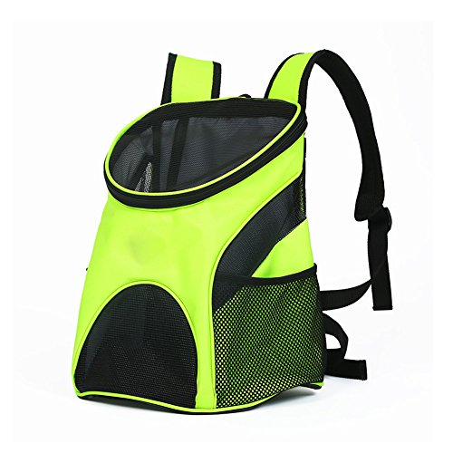 ZH1 huisdier tas huisdier drager hond kat draagtas, lichtgewicht sterk ademend Oxford stof reizen rugzak, 25 (L) * 35 (W) * 31 (H) cm, groen huisdier fietsen, Groen