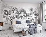 Fotomural Papel Pintado AdesivoMuralepapel Tapiz 3D Personalizado Estilo De Dibujo En Blanco Y Negro Selva Tropical Árbol De Coco Tv Fondo De Pantalla De Pared Para Paredes 3 D-350 * 245 Cm