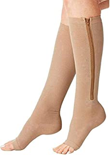 Compression Socks (2 Pairs) New Compression Zip Sox Socks Stretchy Zipper Leg Support Unisex Open Toe Knee Stockings