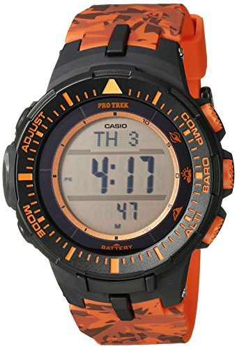 Casio Men's PRG-300CM-4CR Pro Trek Solar-Powered Watch with Orange Band