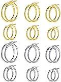 12 Pares de Pendientes de Aros Redondos Aretes de Aro de Acero Inoxidable Aretes Circulares para Mujeres Niñas, Oro, Plata