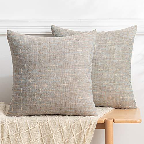 Fundas de almohada decorativas de lino de arpillera para sofá, sala de estar, decoración de sillas, moderna funda de almohada rústica tejida con textura cuadrada, 45,7 x 45,7 cm, juego de 2