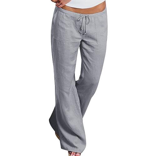 47286e149e0e4 papasgjx Upgrade Women s Drawstring Wide Leg Pants Outdoor Comfy Casual  Elastic Waist Pants with Pockets