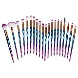 LOMOFI Set de brochas de maquillaje profesional,20pcs Brochas de Maquillaje Manijas de degradado brillante,brochas de maquillaje,Set de pinceles de maquillaje profesional Kit de maquillaje (C)