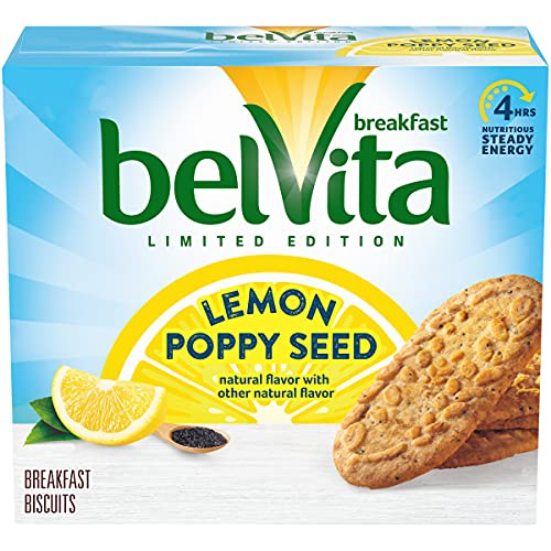 Belvita Lemon Poppy Seed Breakfast Biscuits, Limited Edition, 4 Count, 5 Pack