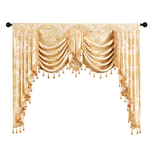 Golden Jacquard Swag Waterfall Valance Luxury Curtain Valance for Living Room (Damask-Golden, W59 Inch, 1 Panel)