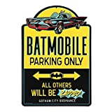 """DC Comics official product: Don't you dare park that clunker here! Make it clear that only Batman's iconic ride is welcome when you display this fun, colorful wall décor. Fun Vintage Sign: Reading, """"Batmobile parking only - all others will be zapped!..."""