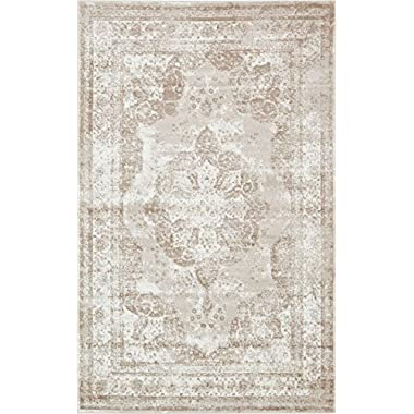 Traditional Persian Vintage Design Rug Beige Rug 4' 11 x 8' FT (244cm x 152cm) Sofia Area Rug Inspired Overdyed Distressed Fancy