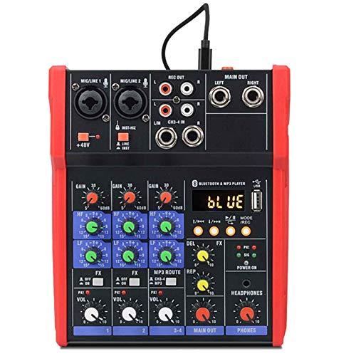 GAOXQ Mezclador Estudio Compacto 4 Canales USB 48 V Phantom Power con Bluetooth, 2 Entradas XLR De 6,35 Mm, 2 Entradas Estéreo, para Grabación Sonido En Vivo Y Estudio En
