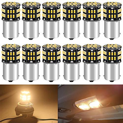 ALOPEE 12-Pack 1156 BA15S 7506 1141 1003 1073 Doux Blanc Chaud 3000k LED Lumière 12V-DC, 3014 54 SMD Remplacement De Voiture Pour L'intérieur RV éclairage Camper Clignotants Feu Arrière BackUp Bulbs