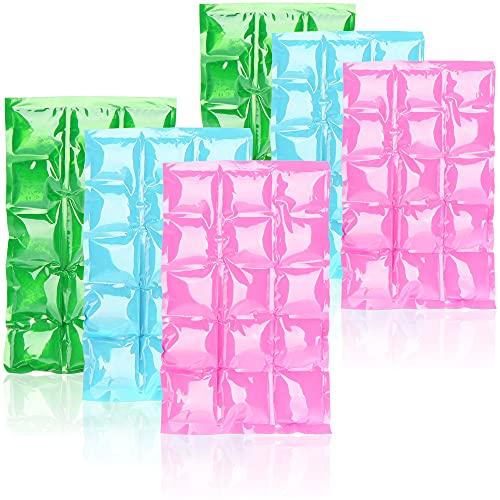 COM-FOUR 6x bolsa de hielo flexible - compresa de enfriamiento con 15 celdas de enfriamiento - paquete de enfriamiento para el hogar, el deporte y el ocio (06 piezas - 25 x 15cm - 3 colores)