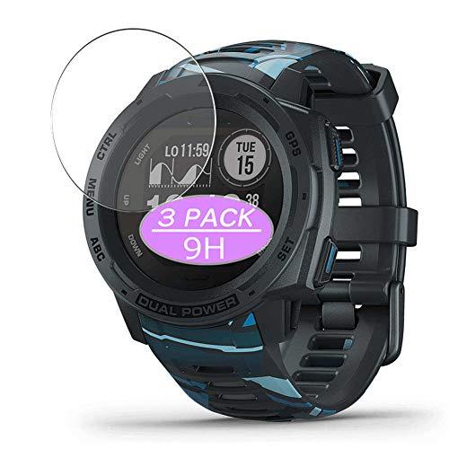 VacFun 3 Piezas Vidrio Templado Protector de Pantalla, compatible con GARMIN Instinct Dual Power Tactical Edition, 9H Cristal Screen Protector Protectora Reloj Inteligente